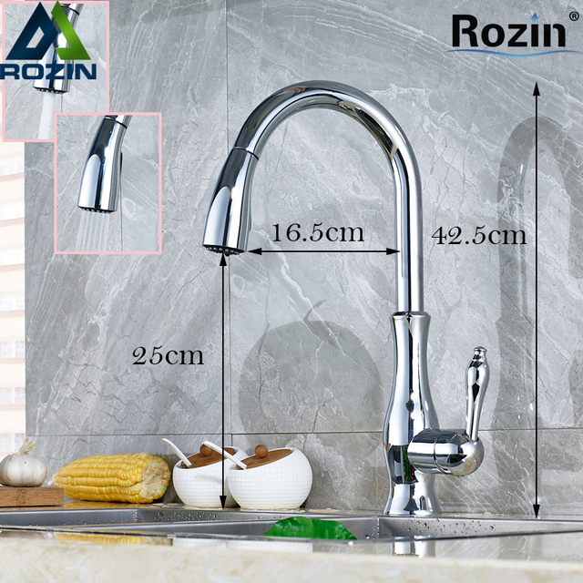 Polished Chrome Pull Out Washing Kitchen Faucet Single Lever Deck ...