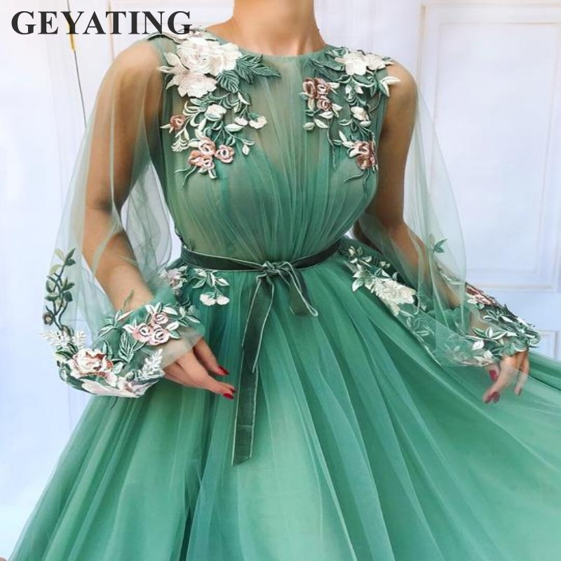 Light Emerald Green Tulle Long Sleeves Prom Dresses 2019 Elegant Women Formal Evening Gowns Embroidery Flower Dinner Party Dress