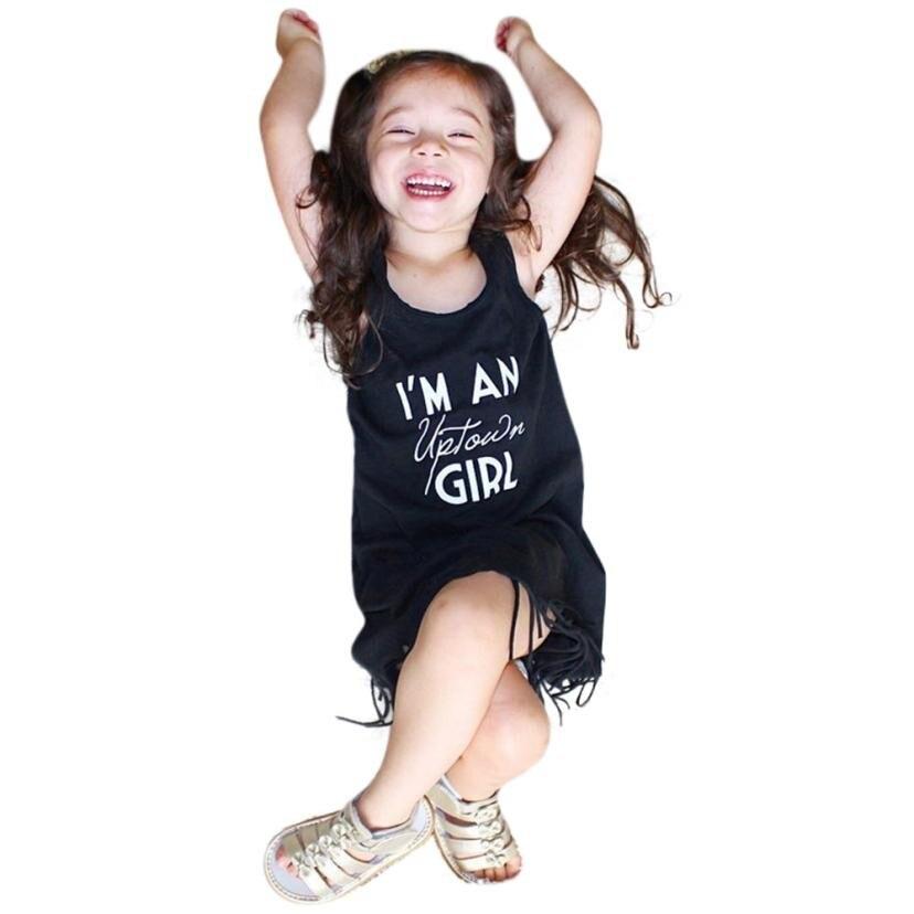 MUQGEW Girls Summer Dress Round neck Baby Girls Toddle Letter Tassel Sleeveless Clothes Princess Dress Vestidos Infantil g#1