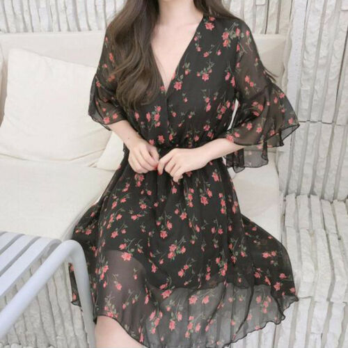 Summer Casual Women Chiffon Print Dresses 2019 New Ruffles Half Sleeve V-Neck Dress