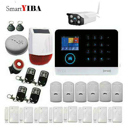 SmartYIBA Home Wireless WIFI GSM Alarm System RFID Burglar Security LCD Touch Keyboard WIFI GSM Alarm System SMS Call App Alert image