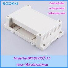 5 pcs/lot free shipping electronic din rail instrument enclosure plastic outlet box din rail enclosures 145x90x40mm