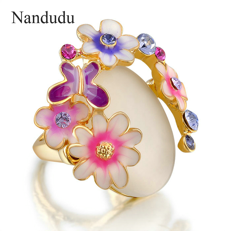 Nandudu Gold Color Cat s eye flower Ring butterfly high quality crystal ring lady fashion jewelry