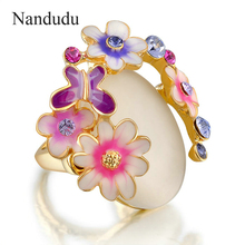 Nandudu Oro Color de ojo de Gato anillo de cristal Anillo de la flor de mariposa de alta calidad de la señora joyería de moda regalo para las mujeres R700