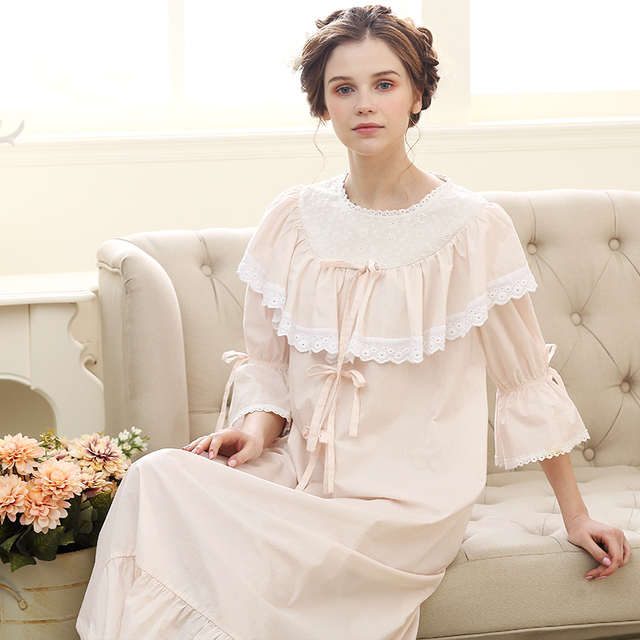 0995e7c5dc Cotton Sleepwear Gown Royal Style Nightwear Women Sleep   Lounge Pink White Nightdress  Vintage Lady Nightgown