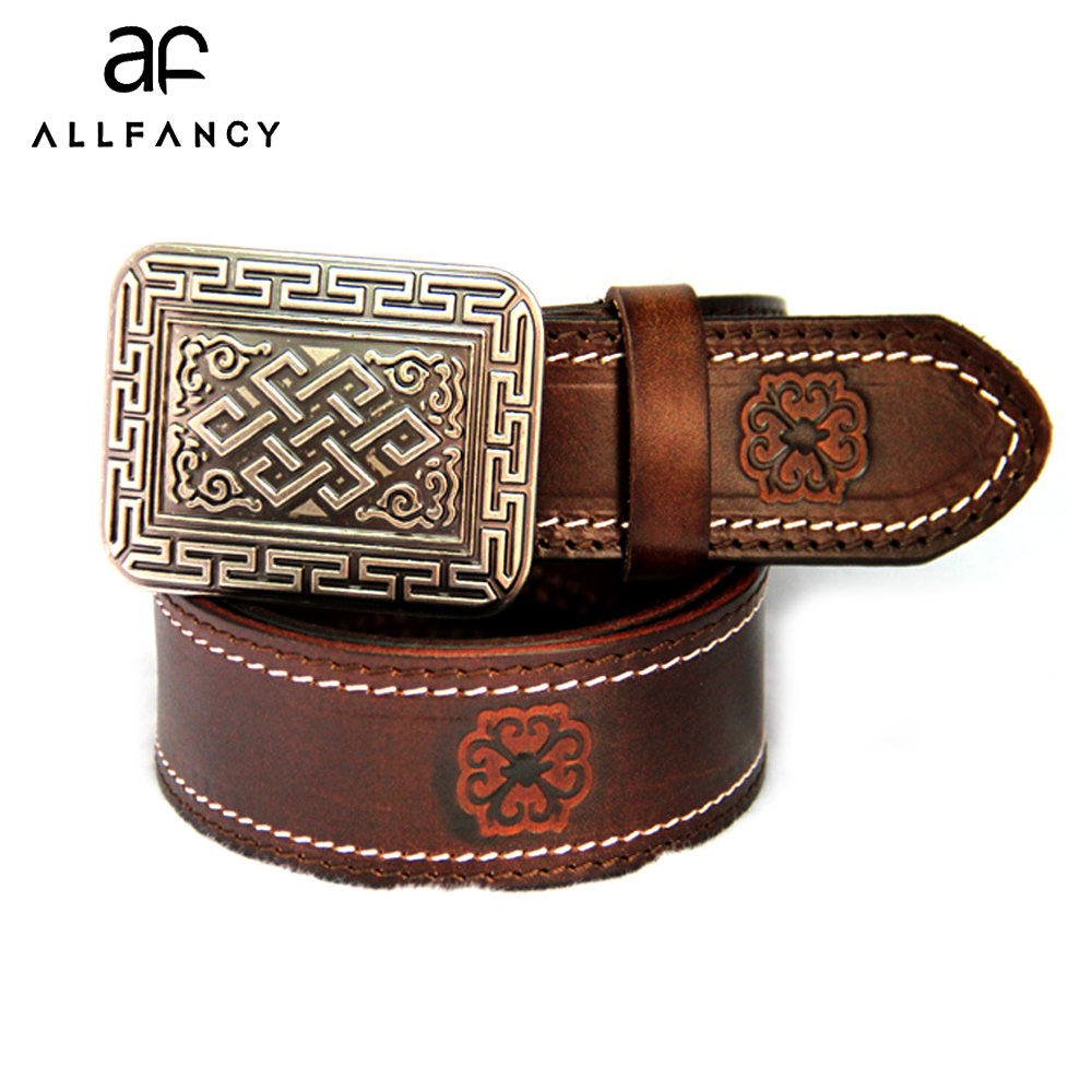 Woman s belt first layer of cow leather vintage embossed belt Men s leather belts Top