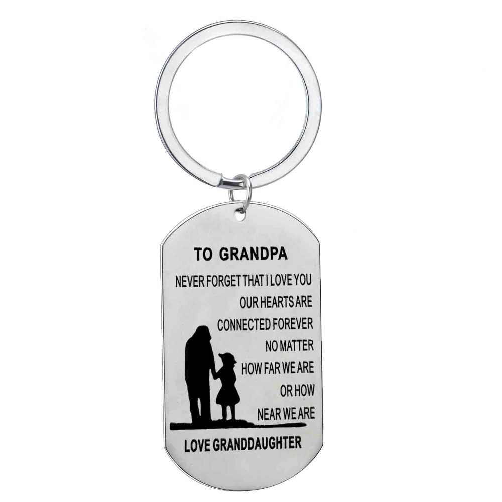 Detail Feedback Questions About To Grandpa Love Granddaughter Stainless Steel Keyring Birthday Gift For Grandfather Granddad Dog Tag Charm Car Keychain Key