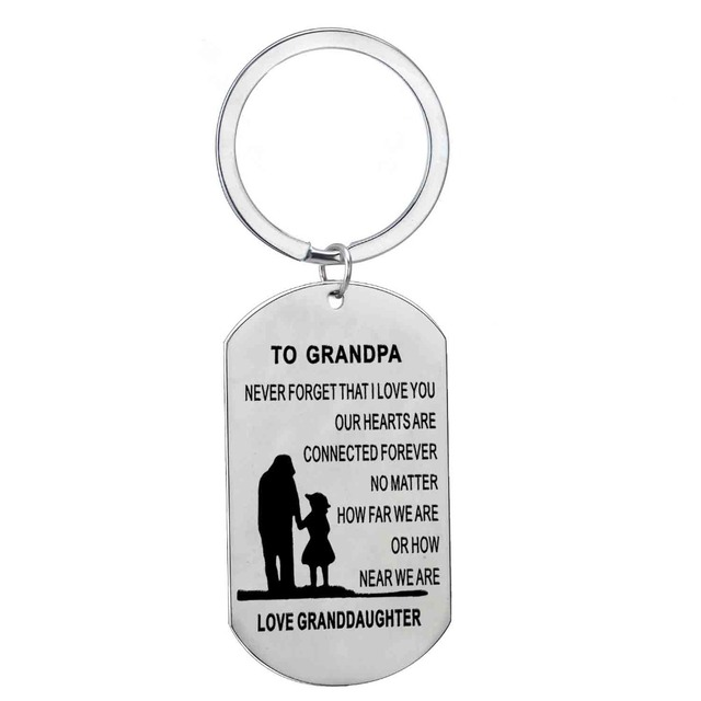 To Grandpa Love Granddaughter Stainless Steel Keyring Birthday Gift For Grandfather Granddad Dog Tag Charm Car