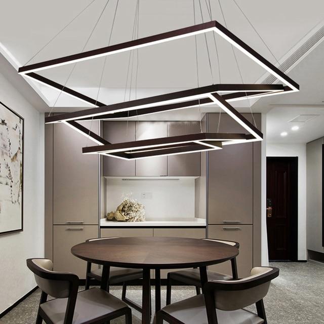 neo gleam rechteck moderne led pendelleuchte für küche esszimmer