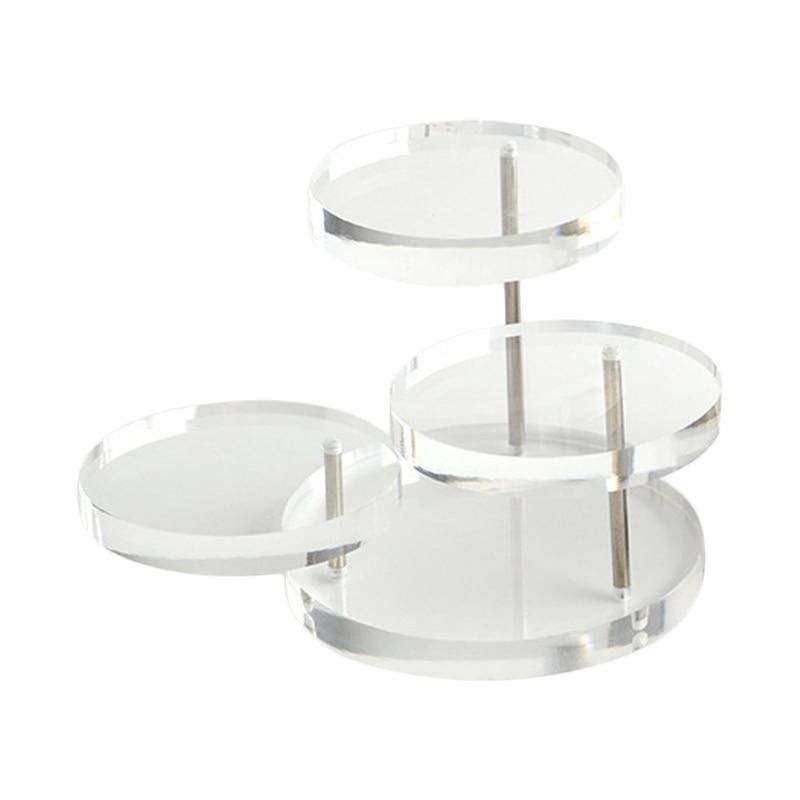 New Jewelry Organizer Jewelry Display Stand Clear 3 Tray Acrylic Earring Bracelet Necklace Display Stand Shelf  KQS8