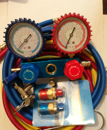 R134A Manifold Gauges Freon Refrigerant+36 Hoses Tricolor Fluoridated Tube Hoses+2pc QC-12 Quick Couplers+Can Bottle Tap Opener