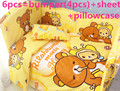 Promoción! 6 unids 100% algodón cuna del lecho Unisex lindo bebé parachoques cama Sheet ( bumpers + hojas + almohada cubre )