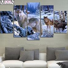 Триптих diy 5d Алмазная картина крестиком 5 шт Снежный волк