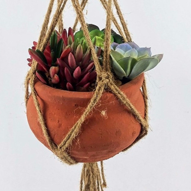 40 Inch Flowerpot Plant Hanger Macrame Jute Rope Indoor Outdoor Decorative Cord