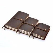 Moterm cuero genuino Bloc de notas de cuaderno Vintage Retro diario Personal recargable diario de viaje suministros escolares