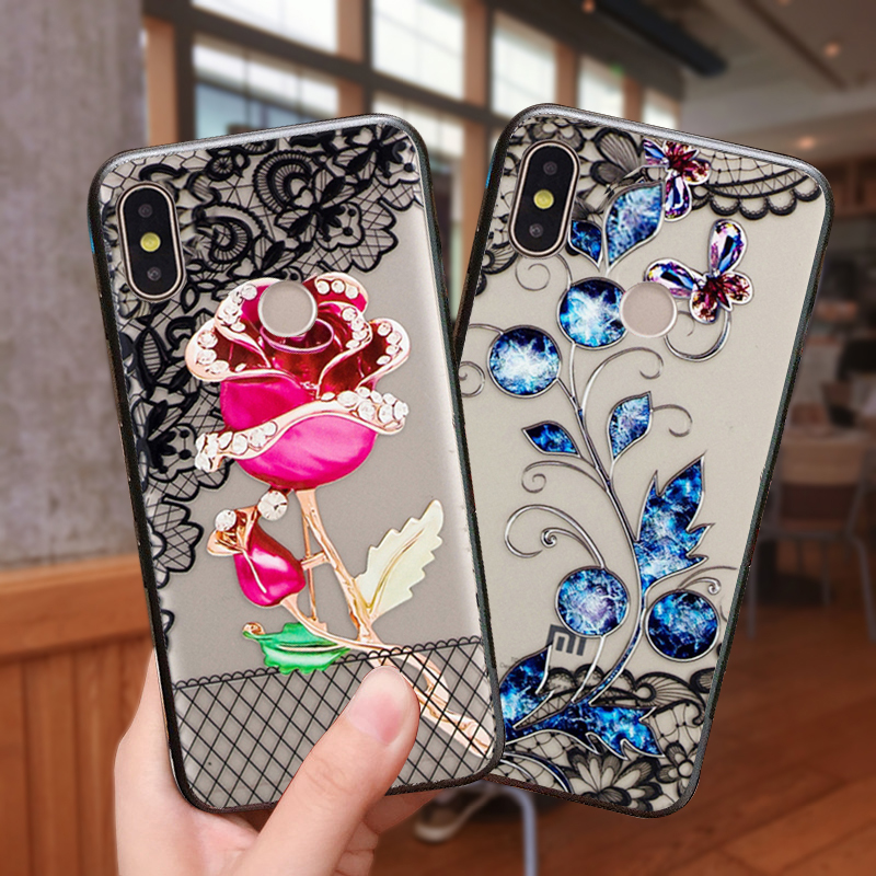 YueTuo coque,cover,case,For Xiaomi Redmi Note 6 pro Note6  6Pro Luxury Pretty 3d On Hard PC Phone woman Flower back cases