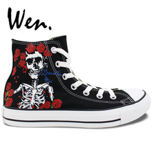 13ea92b612bb Wen Black Hand Painted Shoes Design Custom Grateful Dead Skull Rose Flower  Graffiti Painting High Top