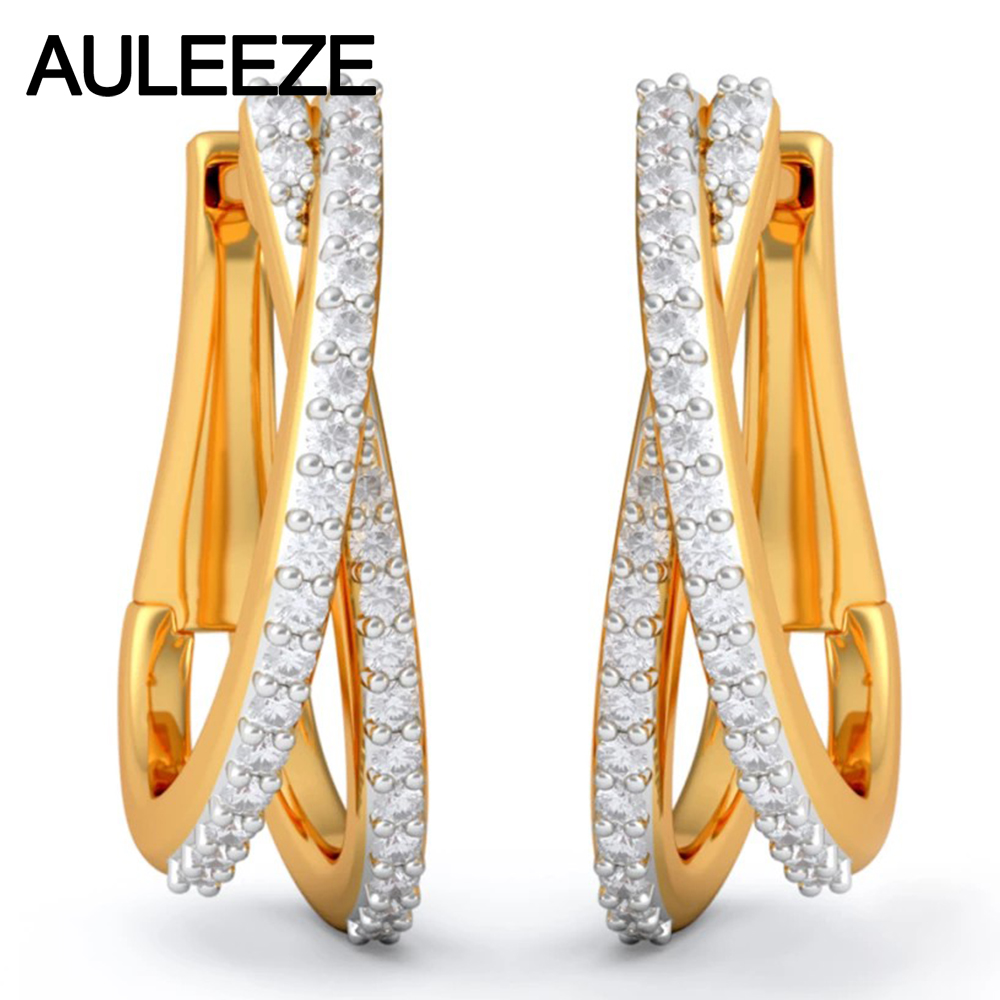 Diamond Earrings Genuine 14k Solid Yellow Gold Beautiful Hoop 100 Natural Real For Women Fine Jewelry In From