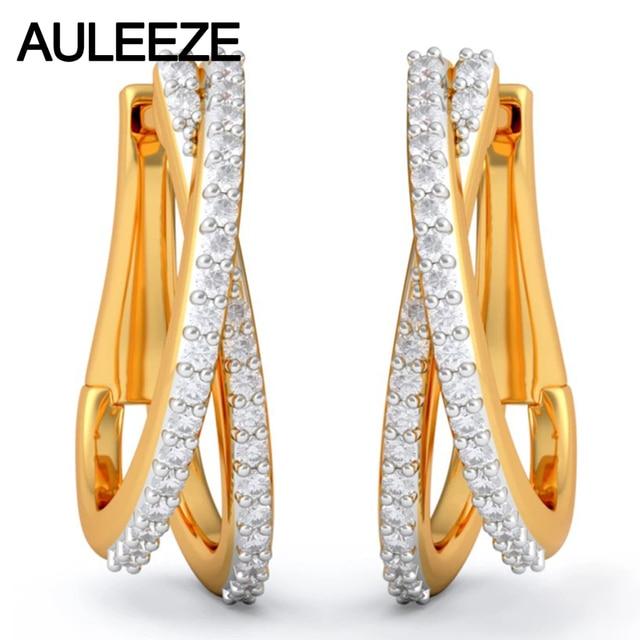 Diamond Earrings Genuine 14k Solid Yellow Gold Beautiful Hoop 100 Natural Real