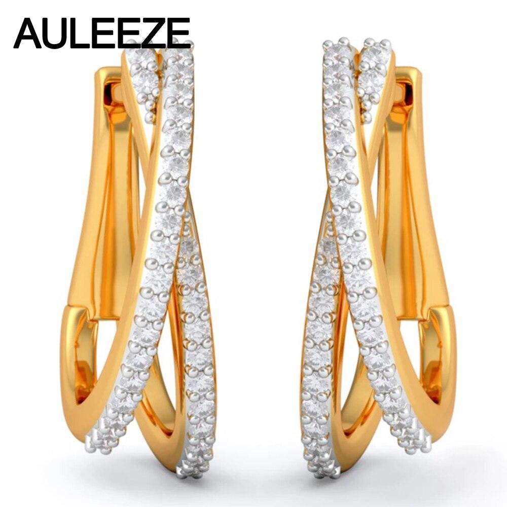 Diamond Earrings Genuine 14K Solid Yellow Gold Beautiful Hoop Earrings 100% Natural Real Diamond Earrings For Women Fine Jewelry