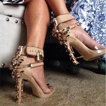 Marca de lujo de diamantes de Imitación de Diamantes Sandalias De Las Mujeres de Bloqueo Crystal Tacones Altos Gladiador Sandalias de Mujer Zapatos de las mujeres Sandalias Botas Mujer