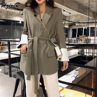 HziriP Vintage Fashion 2018 Women Blazers and Jackets Autumn Sashes Solid Single Breasted Slim Office Outwear Blazer 3 Colors