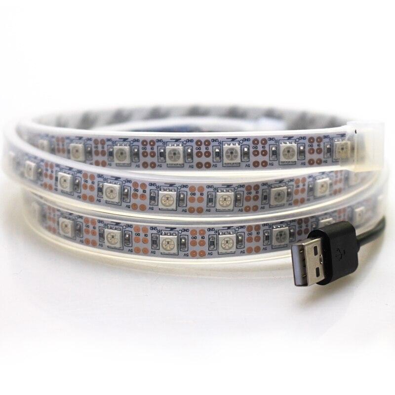 5pcs/pack IP67 tube waterproof 1m USB led Strip Light 60leds DC 5v 5050 SMD WS2812 Ribbon Tape flexible neon