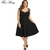 Hua Shang Autumn Women Casual Dress V Neck Sleeveless Tank Midi Dress Elegant Dot Mesh Transparent