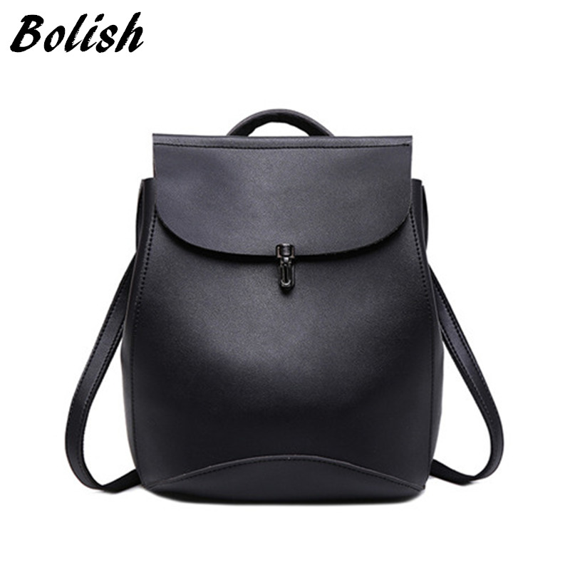 Bolish brand high quality PU leather women backpack vintage backpack for teenage girls casual bags female travel bag foroch high quality backpacks for teenage girls women s leather backpack school bag casual vintage capacity travel backpack 156