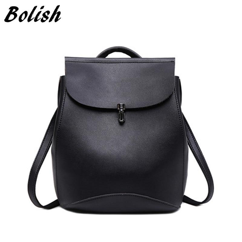 Bolish brand high quality PU leather women backpack vintage backpack for teenage girls casual bags female