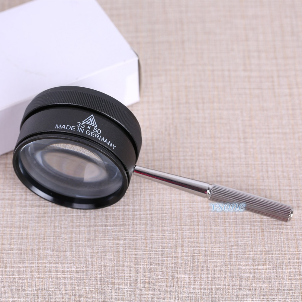35X 50mm Magnifying Jeweler Loupe Zoom Glasses Hand Held Low Vision Pocket Portable Magnifier Fresnel Lens With Metal Handle