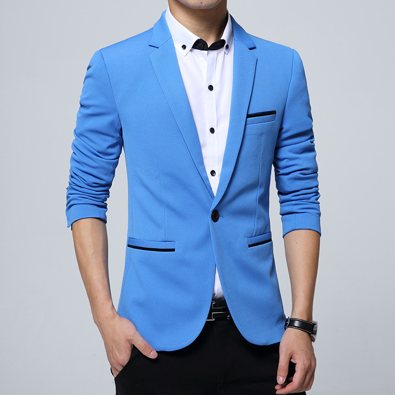 New Fashion Casual Men Blazer Slim Korea Style Suit Blaser