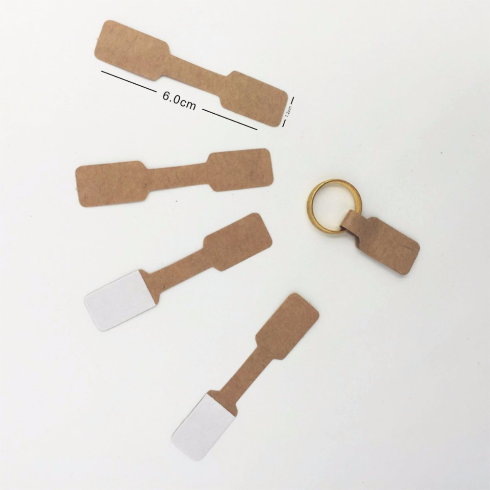 1.2x6cm Kraft Paper Jewelry Display Card Labels Ring Sticker Hangtag1000pcs/lot Brown Blank Paper Price Tag Labels Packaging labeling sticker packs stationery labels white label blank stickers self adhesive handwriting mark note tag price sticker