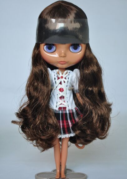 Free shipping Nude Blyth Doll, Brown hair,Black skin, big eye doll,Fashion doll Suitable For DIY Change BJD , For Girl's Gift blyth nude doll for series no 230bl117bangs joint body black hair suitable for diy change bjd toy for girls