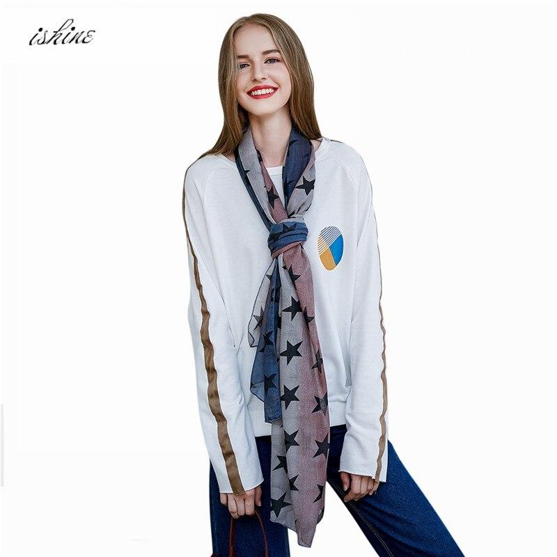 1PC * Brand   Scarf   Women Winter Ladies   Scarf   Female Star Printing Shawl high Quality Fashion Girls   Scarves     Wraps   Gray Navy Blue