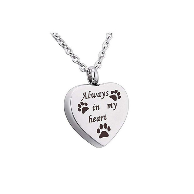 Staitless Steel Always In My Heart Lettered Heart Shaped Pendant