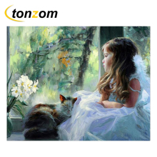 RIHE Girl With Cat Drawing By Number DIY Little Princess Painting Handwork On Canvas Oil Wall Art Coloring Home Decor