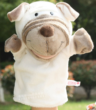 Story toy 1pc 25cm cartoon funny white shar pei Sharpay dog hand puppets ventriloquism plush sleeping pacify kids gift