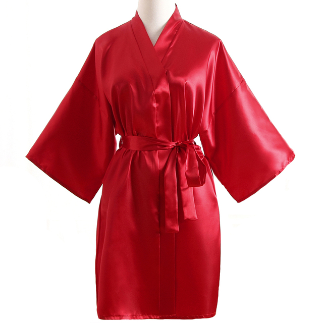 Solid Red Ladies Short Satin Robe Dressing Gown Womens Leisure