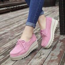 Buty na platformie dla kobiet wkładane mokasyny zamszowe krowy skórzane oddychające wygodne modne damskie buty do chodzenia na co dzień