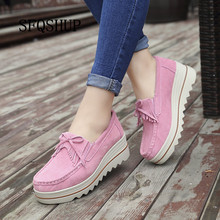 Sapatos de plataforma para mulher deslizamento em mocassins camurça couro de vaca respirável confortável moda das mulheres andando sapatos casuais