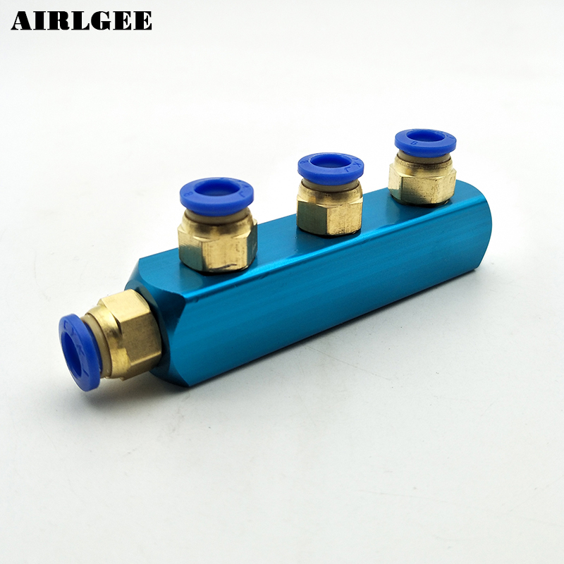 Pneumatic Air Hose Fitting Aluminum Manifold Block Splitter 4 Way Push in to Connect 8mm Quick Fittings air compressor 1 2bsp 2 way hose pipe inline manifold block splitter teal blue