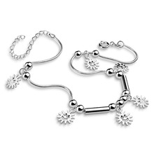 The warm sun pendant anklets.Women fashion solid 925 silver anklets.Cute girl anklets.Charming lady silver jewelry .29cmanklets