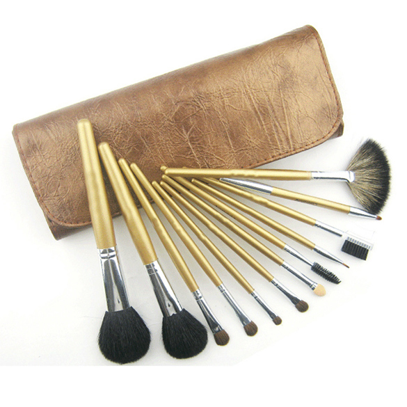 12 Pieces Comestic with Brown Pouch Professional Makeup Accessories Brushes Tools Foundation Brush Sets & Kits High Quality