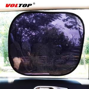 Image 1 - 2 個自動カーテンサイドウィンドウ日よけ UV 保護車のサンバイザー Windowshield 黒シールド日焼けサイドリアカバーメッシュキャップ