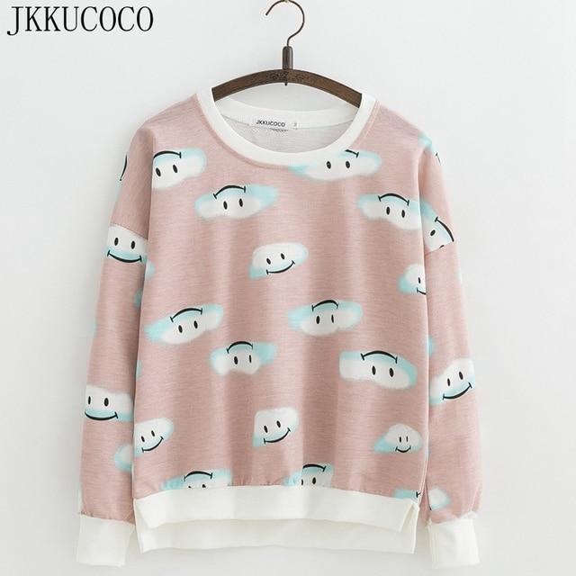 cdfa27a1 JKKUCOCO Lovely Cartoon Clouds Print Casual Sweatshirts Women hoodies  sweatshirt Long sleeve O-neck thin