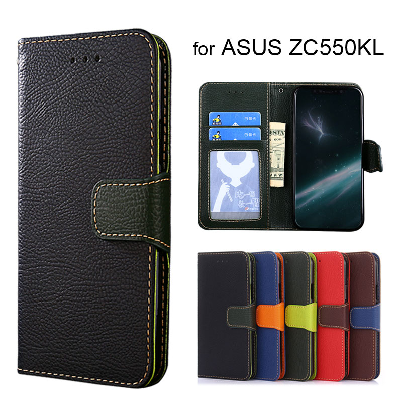 Wallet case for ASUS Zenfone Max ZC550KL Litchi pattern PU leather with inside soft TPU cover coque Hit color