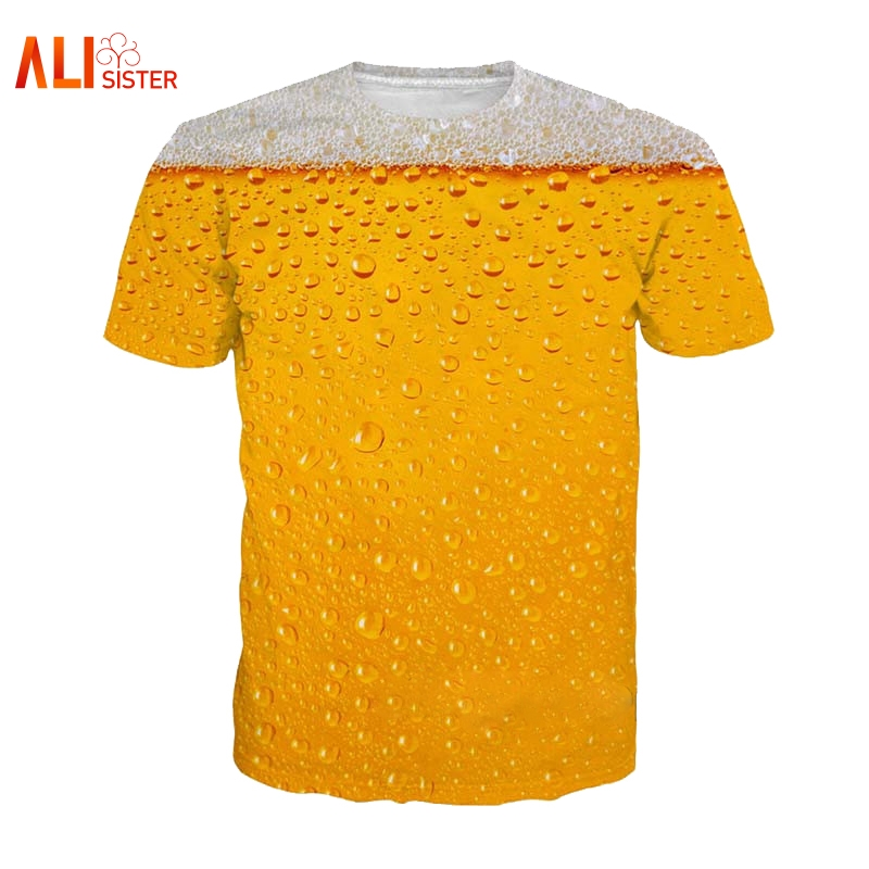 Alisister Beer Print   T     Shirt   It's Time Letter Women Men Funny Novelty   T  -  shirt   Short Sleeve Tops Unisex Outfit Clothing Dropship