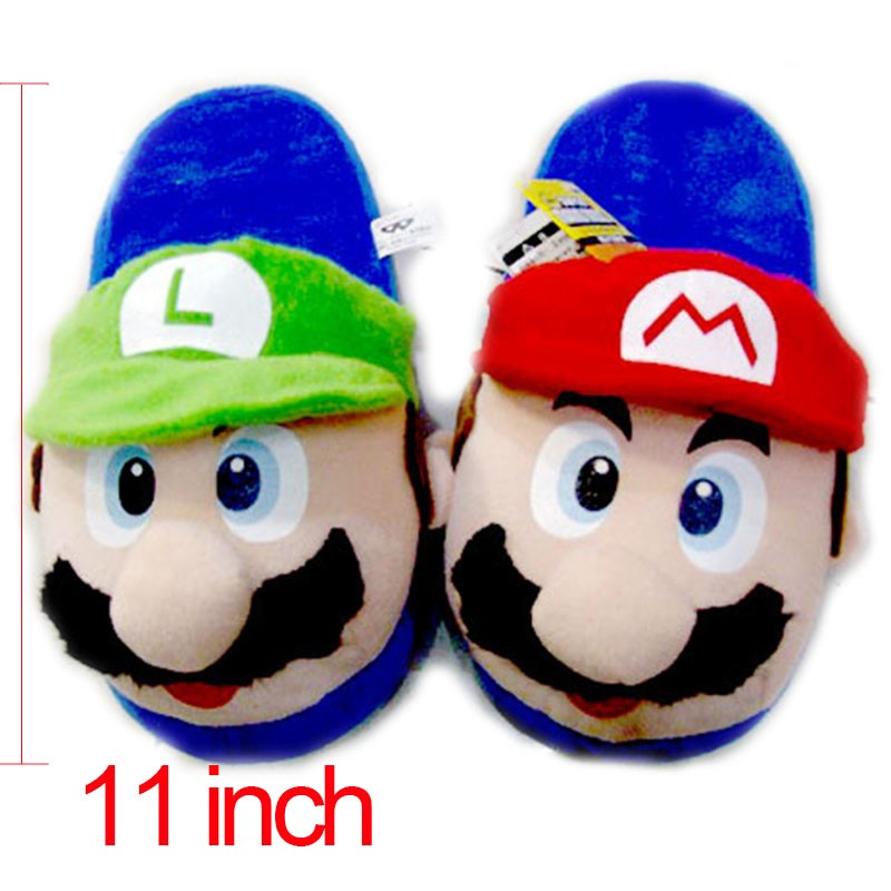 Anime Cartoon Super Mario Bros Mario & Luigi Cosplay Stuffed Plush Toy Shoes Home Winter Slippers Adults Unisex Indoor Slippers super mario bros plush green shell backpack bag purse cosplay super funny and cool rare
