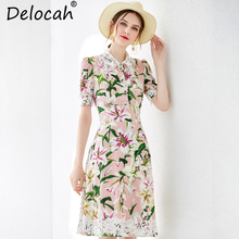 Delocah New 2019 Women Spring Summer Dress Runway Fashion Short Sleeve lace up Floral Print Elegant Casual Holiday Midi Dresses